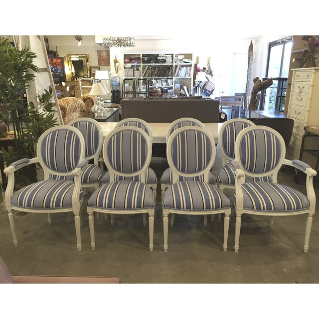 Blue & White Striped Cameo Chairs - Set of 8 - Image 2 of 10