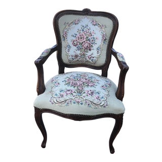 19th Century Victorian Needlepoint Chair For Sale
