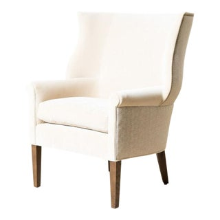 Cornelius Upholstered Oak Wing Chair For Sale