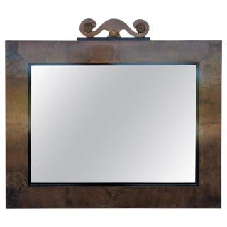 Antique Arts & Crafts Rectangular Carved Oak and Bronze Mirror, Circa 1920 For Sale