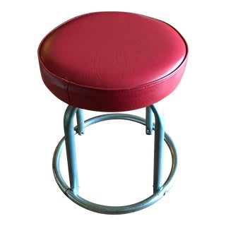 1960s Mid Century Modern Red Vinyl & Chrome Pipe Rotating Stool For Sale