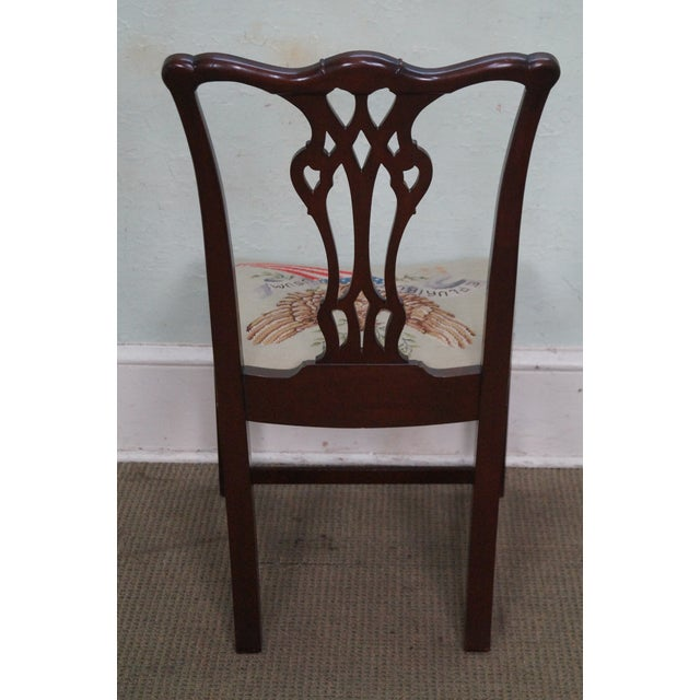 Antique Chippendale Style Eagle Needlepoint Side Chair For Sale - Image 4 of 10