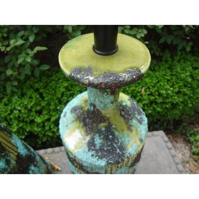 Blue Larger Italian Bitossi Attributed Glazed Ceramic Lamps-A Pair For Sale - Image 8 of 13