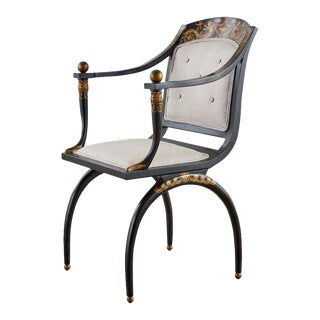 Neoclassical Empire Style Curule Leg Ebonized Armchair For Sale