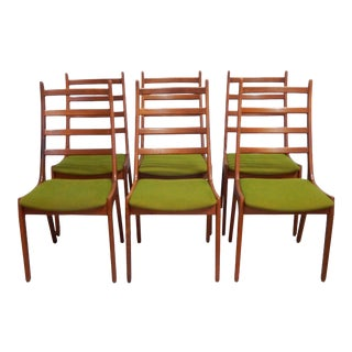 Vintage Mid Century Kai Kristiansen Danish Modern Teak Ladder Back Dining Chairs- Set of 6 For Sale
