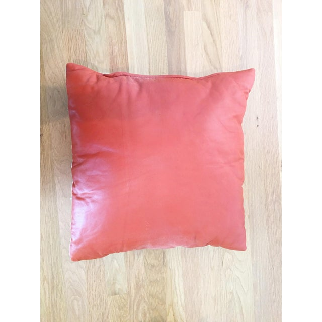 Orange Leather Pillow - Image 2 of 5