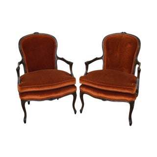 1970s Vintage French Louis Style Arm Chairs - A Pair For Sale