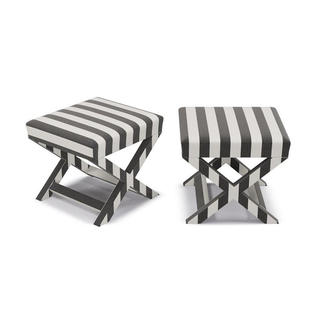 Contemporary X Bench in Ink Cabana Stripe For Sale - Image 3 of 5