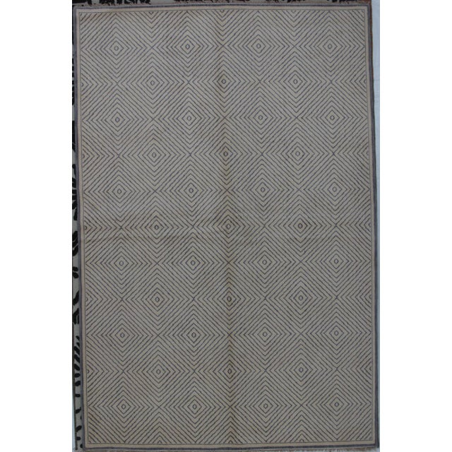 Soumak Design Contemporary Hand Woven Wool Rug - 6' X 9' - Image 5 of 5
