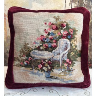 1980s Shabby Chic Handmade Needlepoint and Velvet Pillow Preview