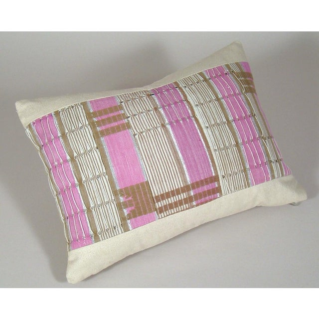 African African Boho Chic Handwoven Aso Oke Khaki and Pink Cotton Pillow Cover For Sale - Image 3 of 11