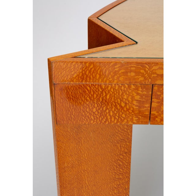 """Custom Lacewood """"Mezzaluna"""" Desk by Pace Collection For Sale - Image 12 of 13"""