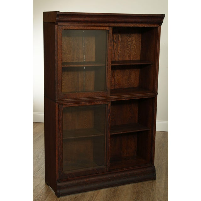 Danner Antique Oak Stacking Sliding Door Bookcases (B) - a Pair For Sale - Image 9 of 13