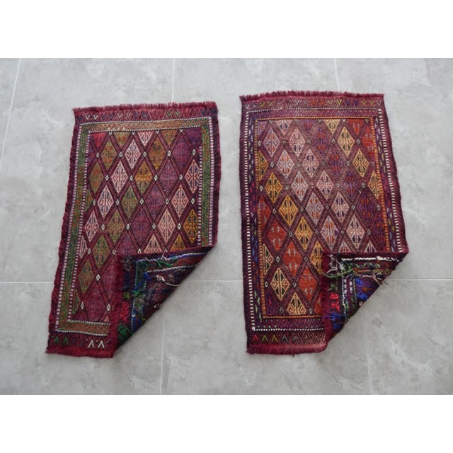 Pair Handwoven Turkish Kilim Rug Pastel Colors Area Rug Petite Braided Kilim - 1′8″ × 2′9″ For Sale In Dallas - Image 6 of 9