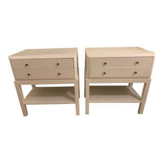 White Lacquer Bedside Tables - A Pair For Sale