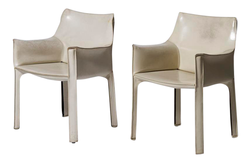 Mario Bellini For Cassina White Leather Cab Dining Arm Chairs   A Pairing  For Sale