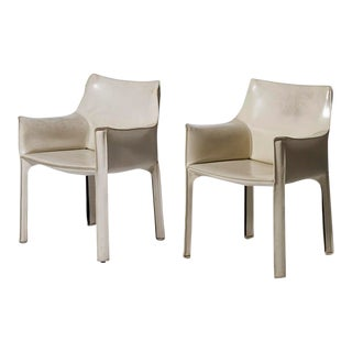 Mario Bellini for Cassina White Leather Cab Lounge Arm Chairs - a Pair For Sale
