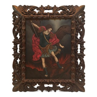 Peruvi Archangel St. Michael Defeating Satan Oil Painting With Hand Carved Frame For Sale