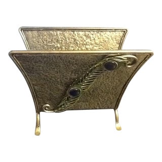 Artisan Stainless Steel Magazine Rack With Hammered Design and Peacock Feather Design For Sale