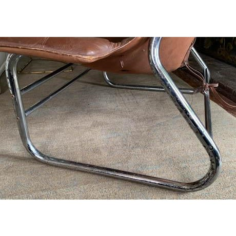 Brown Mid Century Chrome and Leather Corset Tie Back Sling Chair For Sale - Image 8 of 13