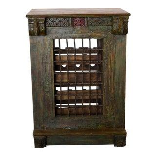Vintage Mediterreanean Rustic Wine Cabinet