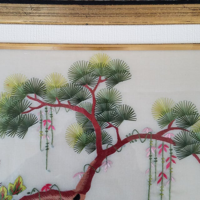 Asian Vintage Chinese Suzhou Embroidery Peacock Art For Sale - Image 3 of 10