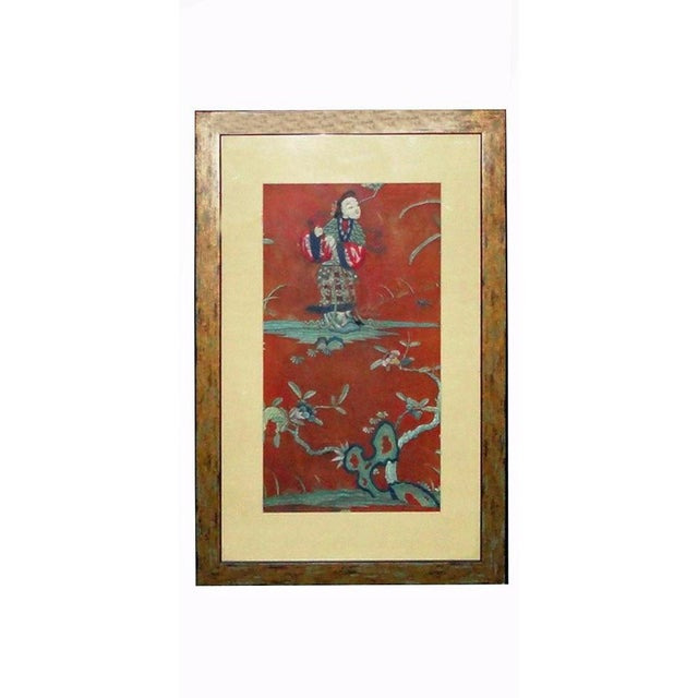 Vintage Chinese Hand Embroidery Framed Wall Decor For Sale In San Francisco - Image 6 of 6