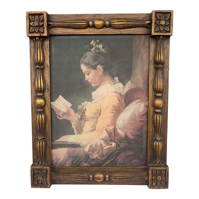 "Vintage ""Portrait of a Young Girl Reading"" Print After Jean-Honore Fragonard, Framed For Sale"