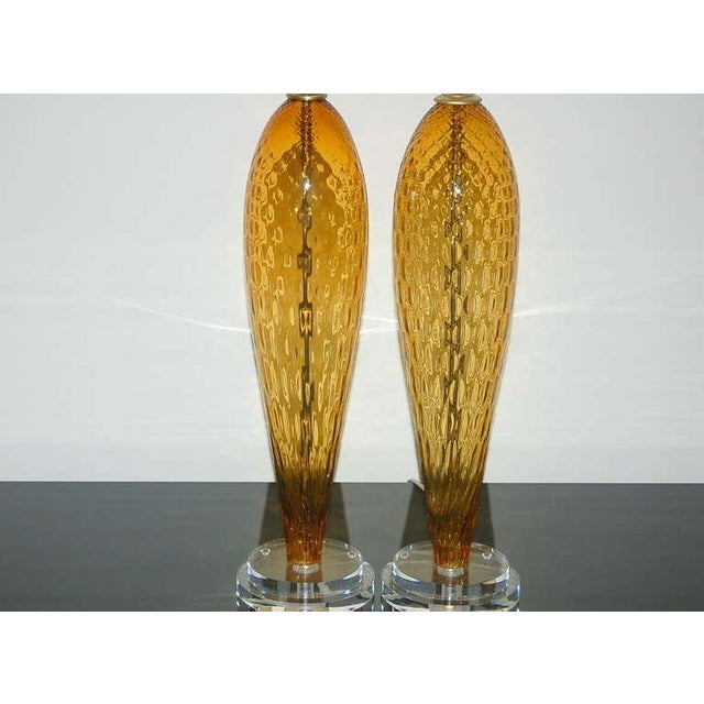 Vintage Italian Glass Table Lamps Butterscotch For Sale In Little Rock - Image 6 of 9