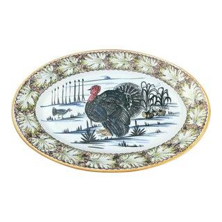Vintage Traditional Numbered Mancioli Hand Painted Turkey Platter For Sale