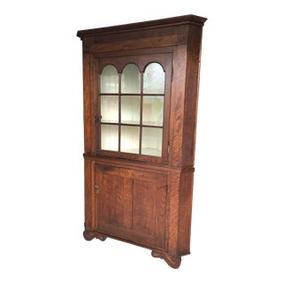 19th Century Traditional Walnut 2 Pc. Corner Cabinet For Sale
