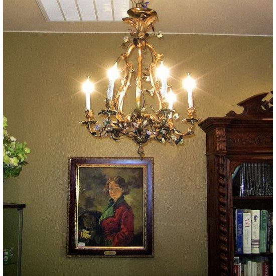 Belle Epoque 19c French Gilt Bronze Chandelier With Porcelain Flowers For Sale - Image 3 of 13