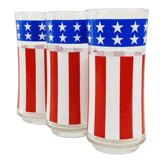Vintage Libbey American Flag Glasses - Set of 3