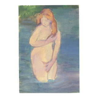 Contemporary Bather Watercolor and Gouache Painting For Sale