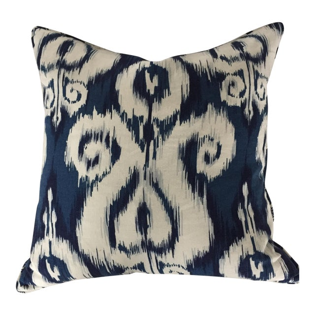 Blue & White Ikat Pillow - Image 1 of 3