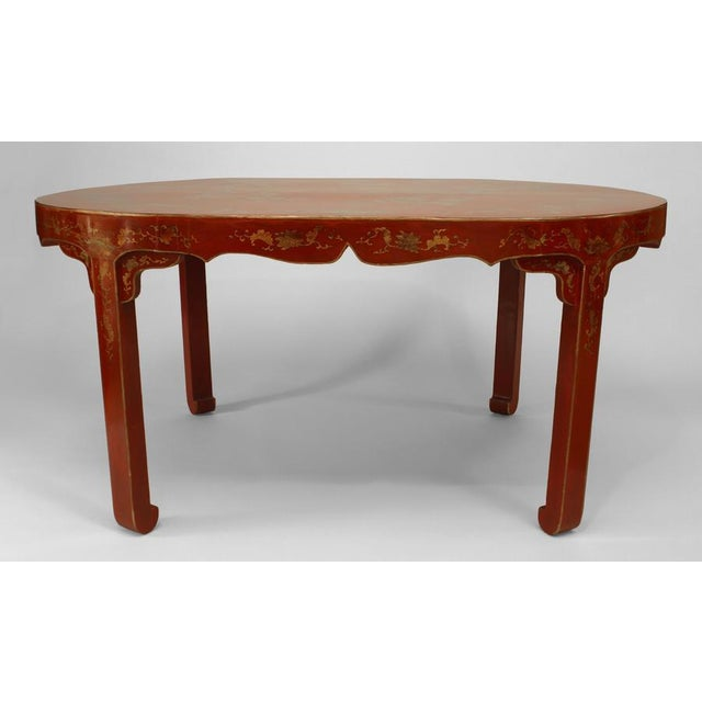 Brown Asian Chinese Oval Red Lacquer and Gilt Stencilled Center Table For Sale - Image 8 of 8