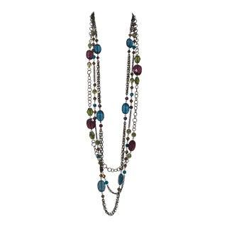Wonderful Vintage Brass & Glass Bead Multi Strand Long Necklace For Sale