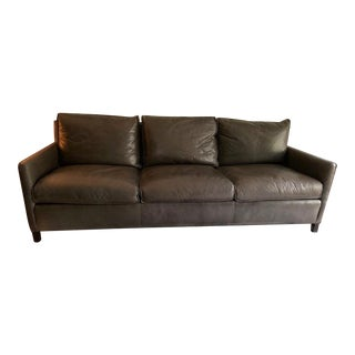 Modern Gray Leather Sofa For Sale