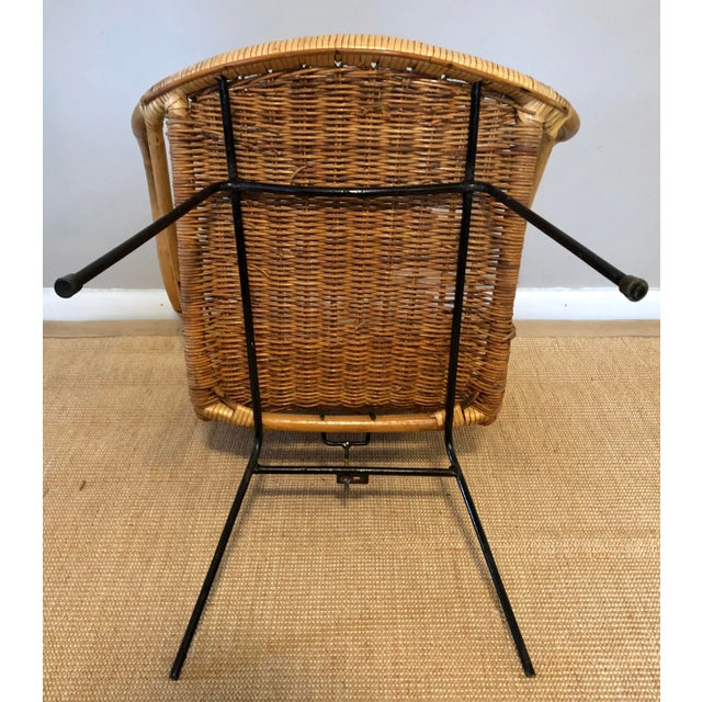 Mid Century Italian Rattan & Sculpted Bamboo Boho Chic Chair For Sale - Image 10 of 12