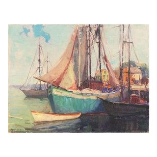 'Cape Ann Harbor' by Nell Walker Warner, Woman Artist, Massachusetts, Rockport, Gloucester, Los Angeles County Museum of Art For Sale