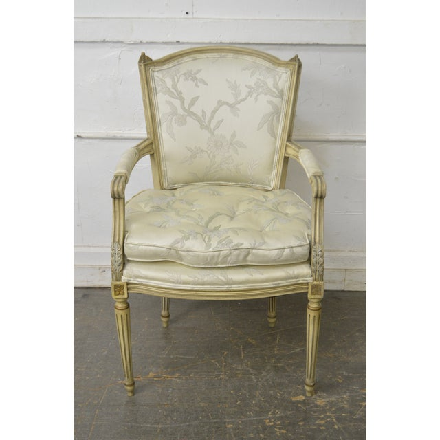 Green French Louis XVI Style Vintage Custom Paint Frame Fauteuil Arm Chair For Sale - Image 8 of 13