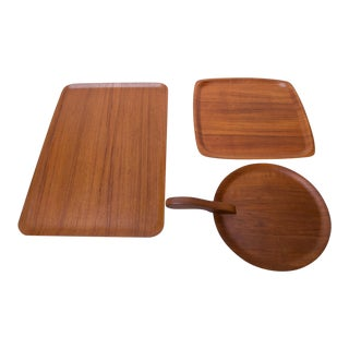 Collection of Three Teakwood Serving Trays Including a Design by Brostrom, Denmark For Sale