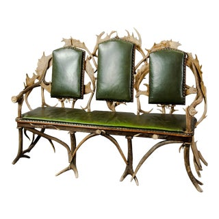 Antique Black Forest Three Seater Antler Sofa 1900 For Sale