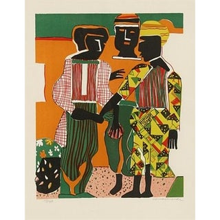 """Romare Bearden 1979 """"Conjunction"""" Lithograph Print For Sale"""