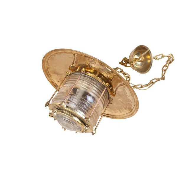 1950s Large Mid-Century Nautical Brass and Fresnel Lens Post Light, Russian For Sale - Image 5 of 6
