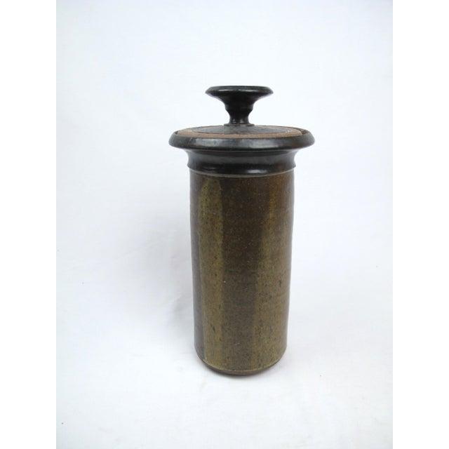 Ceramic Mid Century Modern Lidded Cylinder Jar Vase For Sale - Image 7 of 7