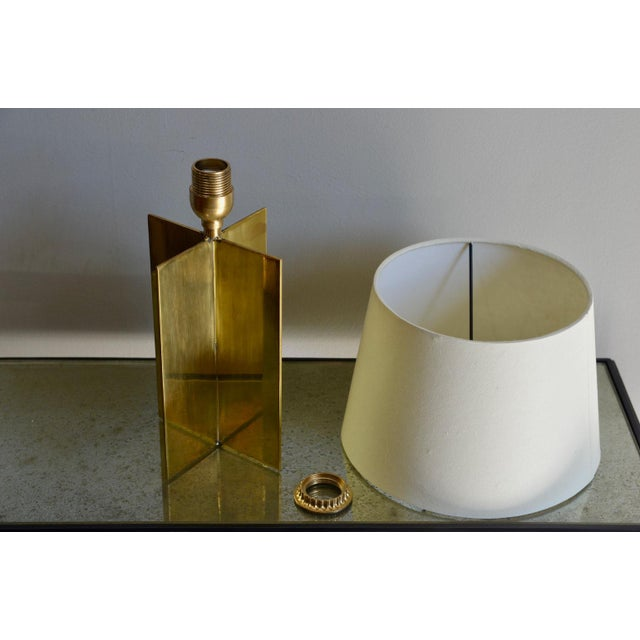 "Contemporary ""Croissillon"" Polished Brass and Parchment Table Lamp For Sale In Los Angeles - Image 6 of 8"