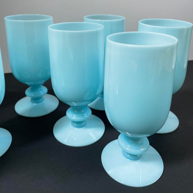 Robin's Egg Blue 1930s Portieux Vallerysthal French Blue Opaline Cocktail / Low Stem Wine Glasses - Set of 9 For Sale - Image 8 of 13