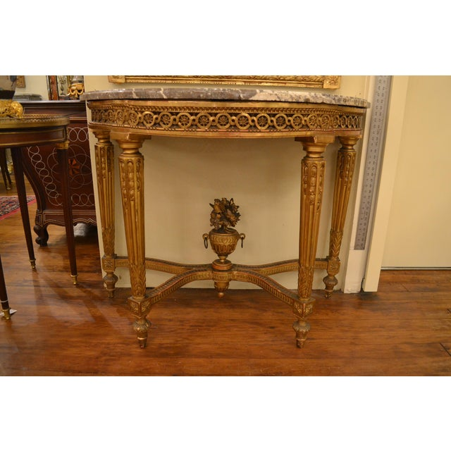 Early 19th Century Antique French Louis XVI Openwork Gold Console with Original Marble For Sale - Image 5 of 5