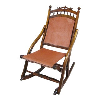 19th Century Eastlake Carpet Folding Rocking Chair For Sale